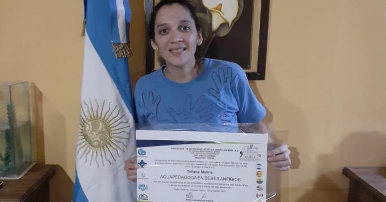 Natación: Taty Molina representó a Argentina en una conferencia internacional